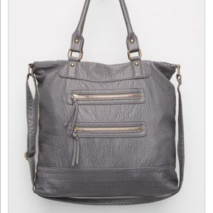 ❤️ grey faux leather tote with lined interior